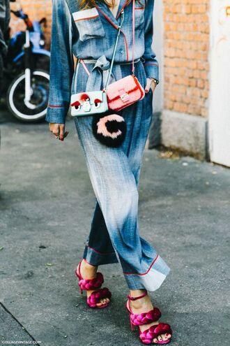 bag fur bag pink sandals embellished mini bag jumpsuit denim jumpsuit blue jumpsuit sandals sandal heels high heel sandals embellished bag