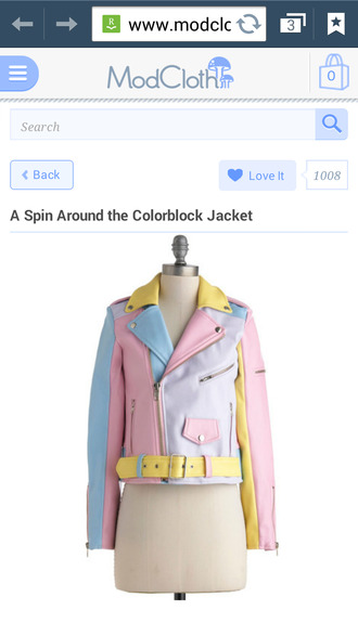jacket pastel colroful pink yellow baby blue