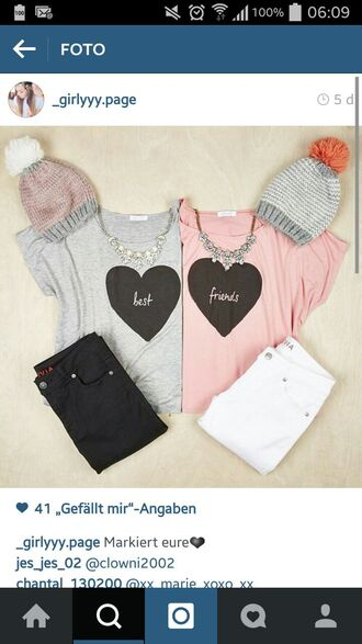 t-shirt bff best friends pom pom beanie top shirt jewels hair accessory blouse best friend shirts best friends top pastel shirt pink blue cute best friends sweatshirts cardigan hat jeans grey t-shirt dress striped dress black and white dress short dress
