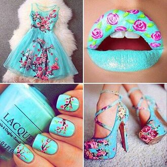 dress blue flowers shoes