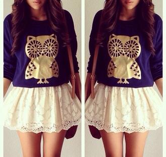 tank top shirt skirt blue cream winter pretty lace gold jumper summer owl owel girl long
