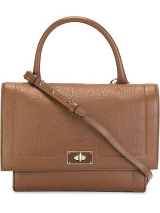 women shark leather brown bag