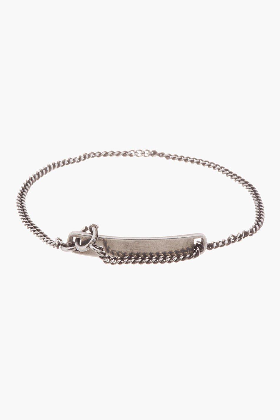 ann demeulemeester silver chain i.d. bracelet