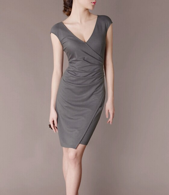 Grey Elegant Noble Summer OL Slim V-neck Women Fashion Dress lml7055 - ott-123 - Global Online Shopping for Dresses