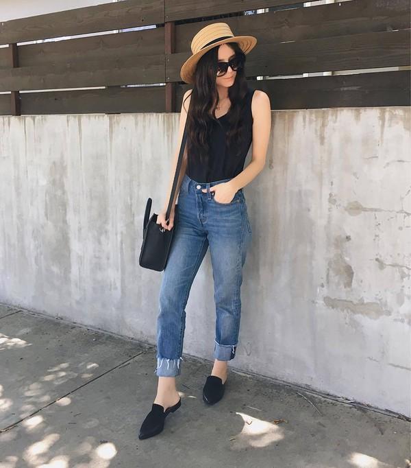 shoes hat tumblr mules black shoes flats denim jeans blue jeans top tank top black top sleeveless top sun hat bag black bag