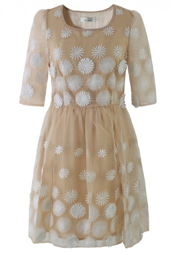 Daisy Embroidered Mid-Sleeve Organza Dress - Retro, Indie and Unique Fashion