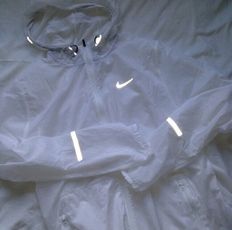 jacket nike 3m white mike jacket coat shiny windbreaker cute light running joggers sportswear rain reflection reflector nike jacket sheer nude lingerie diamonds jewels bra undies style nike sweater nike sportswear white nikes transparent tumblr reflective raincoat glow in the dark winter jacket nike air hoodie winter outfits outerwear nike running shoes nike windbreaker