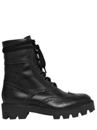 boots combat boots leather black shoes