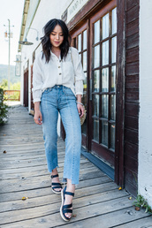 shoes,flat sandals,jeans,sandals,denim,shirt,white shirt,white top