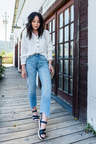 shoes flat sandals jeans sandals denim shirt white shirt white top