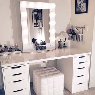 desk mirror elegant lights white makeup table furniture home furniture