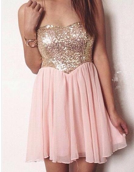 Cute sequins hot pink dress