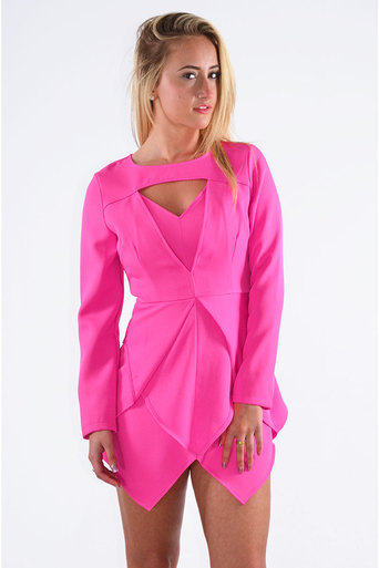 Kenton Skort Style Front Cut Out Dress In Fuschia - Pop Couture