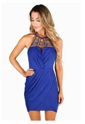 cobalt blue dress,royal blue dress,blue and gold sequins,caged neckline,wrap dress,bodycon dress,www.ustrendy.com