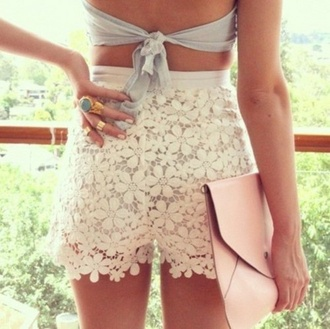 lace dress lace white dress white high waisted shorts floral cute sexy shorts skirt crop tops jewels bag