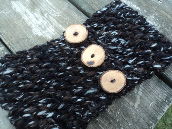 Womens knitted headband ear warmer hand spun by wendyswonders127
