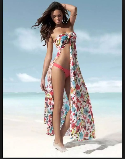 02ab481138 swimwear, cover up, dress, colorful swimwear, long, cover up ...