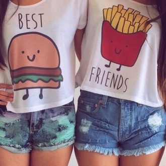 shirt bff best friend shirts hamburger best friend fries
