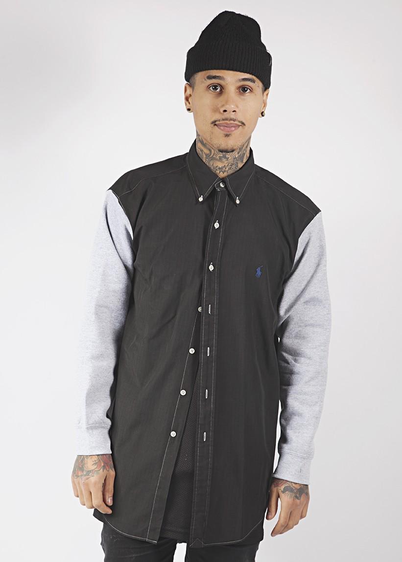 Ralph lauren black shirt with grey sweat sleeves (l)