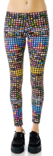 pants,emoji print,rainbow,smiley,happy,smileys,whatsapp emoji,crazy,leggings