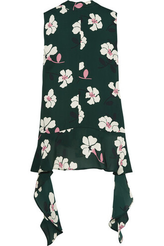 top floral print silk