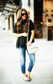 dress corilynn,blogger,top,jeans,bag,shoes,jewels,sunglasses,black top,white bag,ripped jeans,acid wash,flats,lace top,black lace,blue jeans,shoulder bag,peplum top,peplum,black sunglasses,spring outfits