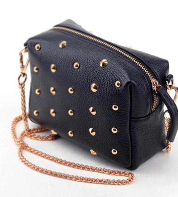 bag black studded leather