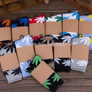 20 colors free size plantlife cannabis marijuana style weed socks men's skateboard cotton calcetines sport socks hip hop