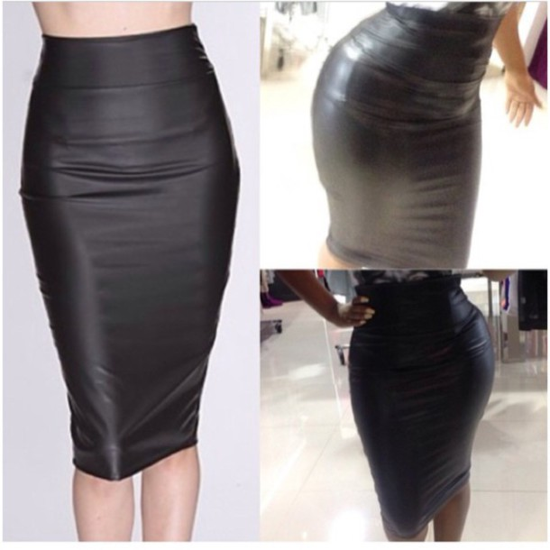 Skirt: black pencil skirt, leather look, long pencil skirt, high ...