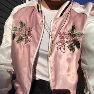 jacket flower bomber flowered jacket silk aesthetic aesthetic tumblr asian