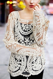 Long Sleeve Lace Top - Juicy Wardrobe