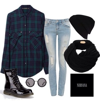 cardigan shirt cute cute top cute outfits boots black dress black plaid plaid skirt plaid shirt plaid jacket jeans ripped jeans sunglasses round sunglasses mirrored sunglasses light blue jeans light blue