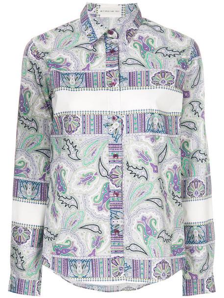ETRO shirt women spandex cotton print purple pink paisley top