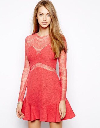 dress asos lace dress red dress pleated dress