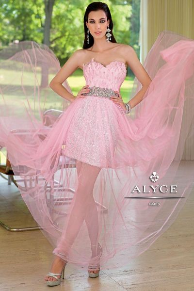 Alyce paris 6000 sequin tulle and feather evening dress