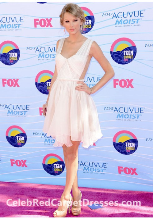 Taylor Swift Short Pink Cocktail Party Dress Teen Choice Awards 2012 Red Carpet