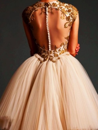 dress nude dress beeds open back dresses lace dress gold sequins