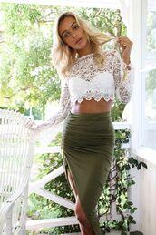 skirt,green,midi
