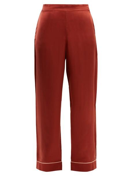 Asceno silk satin red pants