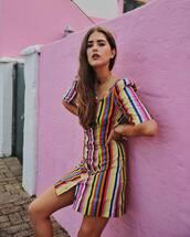 dress,button up,striped dress,mini dress,rainbow,chain necklace