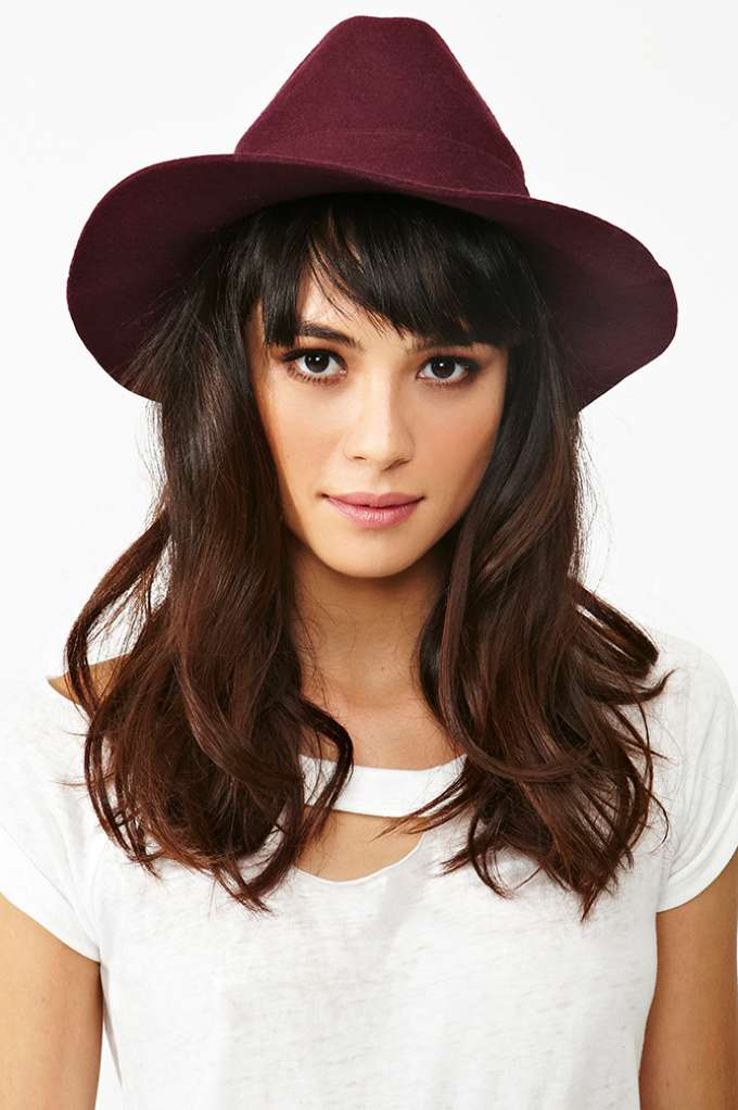 Stevie Wool Hat - Wine  in  Accessories Hair   Hats at Nasty Gal