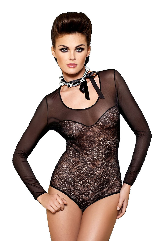 damen body aus spitze langarm spitzenbody schwarz bodysuit transparent bekleidung. Black Bedroom Furniture Sets. Home Design Ideas