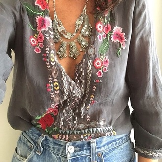 blouse grey floral floral top top vintage tumblr pinterest button up button up blouse embroidered satin shirt boho tunic clothes embroidered shirt boho chic gypsy bohemian mexican