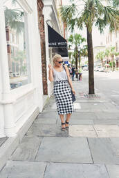fashionably lo,blogger,skirt,tank top,top,shoes,bag,sunglasses,jewels,grey top,midi skirt,checkered shirt,high waisted skirt,pencil skirt,black bag,black sandals,sandals,black sunglasses,summer outfits