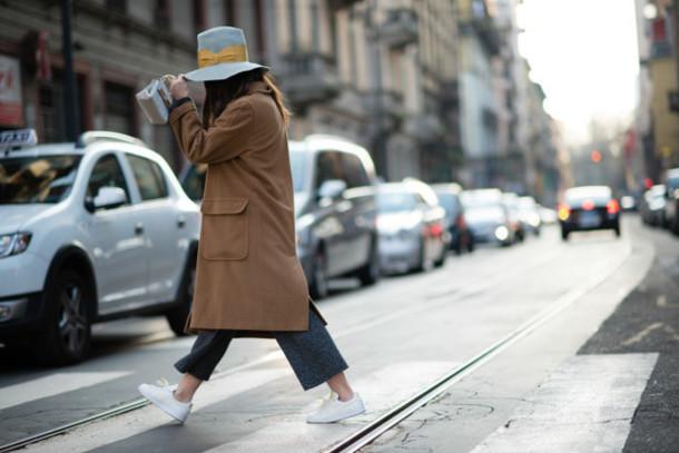 my free choice blogger hat boyfriend coat cropped pants pants sweater coat bag