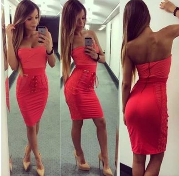 Slim sexy red dress ae1204g