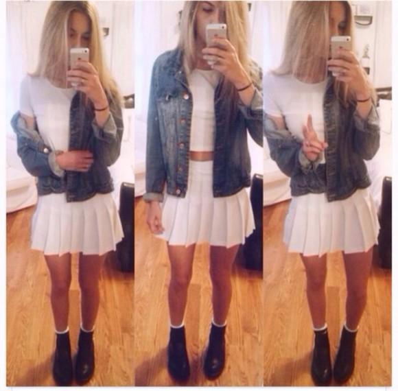 black and white skirt jacket instagram indie hipster dope jeans denim jacket denim american apparel jumpsuit