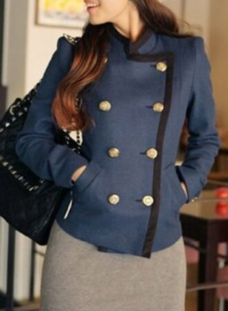 jacket navy blue fall outfits fashion style winter outfits buttons long sleeves