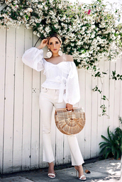 top,tumblr,white top,off the shoulder,off the shoulder top,bag,jeans,white jeans,sandals,sandal heels,high heel sandals,earrings,accessories,shoes