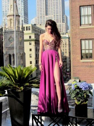 dress prom dress purple dress jewels long prom dress pink dress pink prom dress purple prom dresses sweetheart dresses embellished